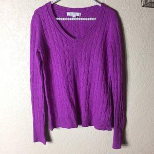 Loft Magenta Knit V Neck Sweater Small Wool Blend